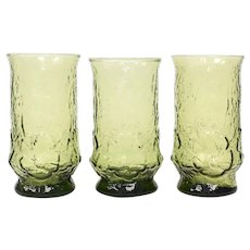 Set of 3 Anchor Hocking Rain Flower Avocado Green Daisy Motif Textured Glass Tumbler Glasses