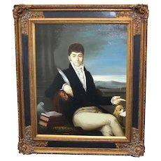 Artist Signed K. Wilkenson Male Aristocrat in Regency Fashion w/ Charles Spaniel Dog Oil Painting in Ornate Frame