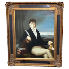 Artist Signed K. Wilkenson Male Aristocrat in Regency Fashion w/ Charles Spaniel Dog Oil Painting in Ornate Frame
