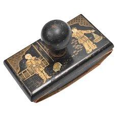 Antique Oriental Black & Gold Hand Painted Asian Men Wood Ink Blotter