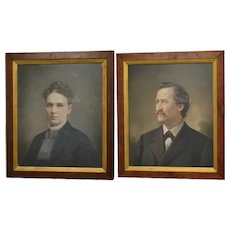 "c1885 Amazing Pair of Victorian Era 28 x 24"" Antique Pastel Medium Smiling Husband & Serious Wife Portrait Paintings"