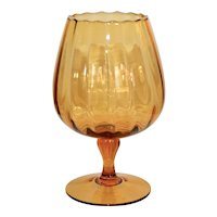 c1960s Mid-Century Ribbed Melon Style Amber Glass Large Oversized Footed Brandy Snifter
