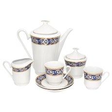 7-Pc K Porzellan Bulgarian Porcelain Blue & Gold Leaf Filigree Tea Set