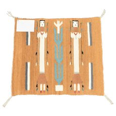 "c1961 Navajo Yei Corn Maiden Native American 25"" x 23"" Wool Woven Rug Wall Hanging / Tapestry Wall Decor"