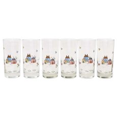 6-Pc Heartland Farm Scene Folk Art Tumbler Glasses