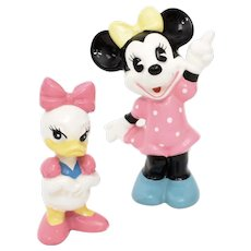 Walt Disney Productions Daisy Duck & Pie Eyed Minnie Mouse Porcelain Figurines