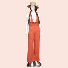 c1970s Fortrel Polyester Bright Coral Orange Diamond Pattern Ruffle Jumpsuit