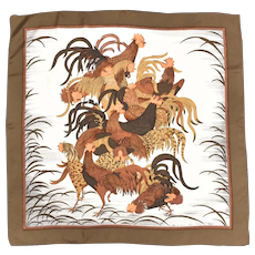 "Neiman Marcus Library of Fashion Switzerland Wild Rooster Motif 100% Silk 30 "" x 29 "" Scarf"