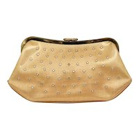c1950s O'Dea Rhinestone Studded Shiny Gold Vinyl Kiss Lock Clutch Handbag Purse