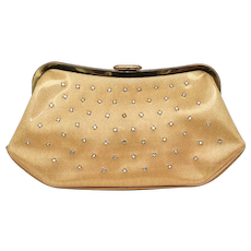 c1950s O'Dea Rhinestone Studded Shiny Gold Vinyl Kiss Lock Clutch Handbag Purse