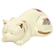 Formalities by Baum Bros Ecru White English Rose & Gold Leaf Porcelain Sleepy Kitty Cat Figurine
