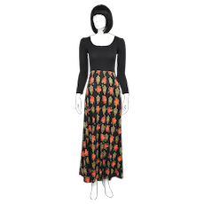 Lanz Designer Ribbed Scoop Neck Long Sleeve Bodice Black & Red Rose Flower Print Long Skirt Maxi Dress