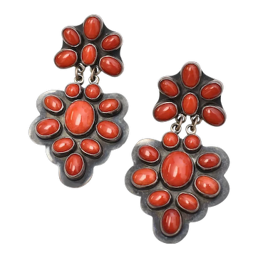 George Nakai Signed Large Sterling Silver Red Coral Cabochon Dangle Pierced Earrings
