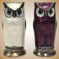 David Andersen Norway Sterling Silver Purple & White Enamel Figural Owl Salt & Pepper Shakers