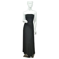 c1970s Lillie Rubin Jet Black Strapless Evening Gown Maxi Dress