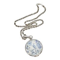 Goldette Signed Large Asian Inspired Blue & White Bird w/ Flowers Locket Pendant Necklace