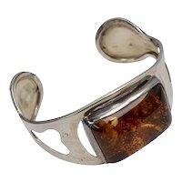 Huge Genuine Baltic Amber Abstract Sterling Silver Modernist Cuff Bracelet