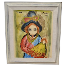 c1962 Roger Etienne Paris Signed Big Eyed Girl w/ Auburn Hair & Doll Original Newspaper & Oil Mixed Media Painting