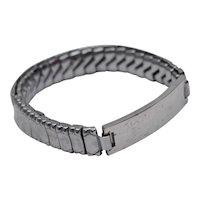Elco Signed Sterling Silver Identification ID Stretch Bracelet - No Monogram