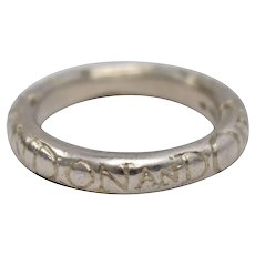 "Retired Diana Porter UK Sterling Silver Etched ""On and On"" Eternity Comfort Band Artisan Ring - Size 6"