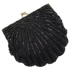 La Regale Designer Black Beaded Kiss Lock Clam Shell Handbag Clutch Purse w/ Optional Chain