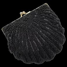 La Regale Designer Black Beaded Kiss Lock Clam Shell Handbag Clutch Purse w/ Optional Chain