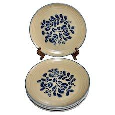 Set of 4 Pfaltzgraff Folk Art Castle Mark Ceramic Pottery Dinner Plates