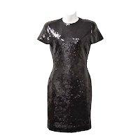 Ann Taylor Designer Black Sequin Short Sleeve Cocktail Dress - Size 2