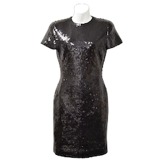 Ann Taylor Designer Black Sequin Short Sleeve Cocktail Dress - Size 2