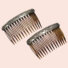 Pair of Sterling Silver Native American Navajo Stamped Pattern Faux Tortoise Shell Hair Combs
