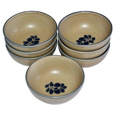 Set of 7 Pfaltzgraff Folk Art Castle Mark Cereal or Soup Ceramic Pottery Bowls