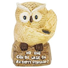 "c1979 Enesco Perched Owl Figural on a Log ""No One Can Be Wise on an Empty Stomach"" Ceramic Kitchen Utensils Holder"