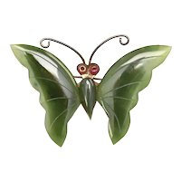 Large Carved Green Jade & Copper Butterfly Pin/Brooch
