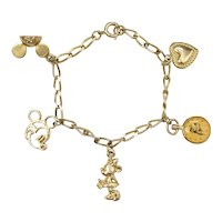 c1960s Disney Mickey Mouse, Minnie, Goofy, Mouseketeer Ears, Heart 5 Charm Goldtone Children's Link Bracelet