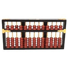 Lotus Flower Brand Republic of China Red & Black Wood Abacus w/ Brass Accents