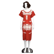 Mexican Oaxacan Red & White Hand Embroidered Floral Motif Straight Dress