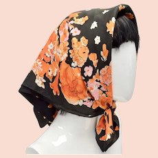 Vera Signed Orange & Black Halloween Colors Square Floral Acetate Scarf