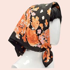 Vera Signed Orange & Black Halloween Colors Square Floral Acetate Scarf
