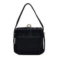 c1940s Black Velvet Fabric Box Style Handbag w/ Double Ball & Wreath Clasp Purse