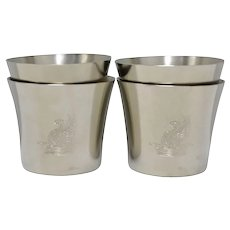 Set of 4 Royal Holland Daalderop Pewter 'The Washington Cup' Medium Size Cups - No Monogram