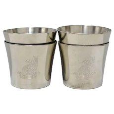 Set of 4 Royal Holland Daalderop Pewter 'The Washington Cup' Shot Glass Size - No Monogram