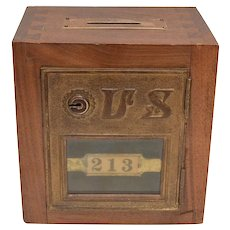 Handcrafted Solid Wood & Brass USPS Post Office P.O. Box 213 Folk Art Coin Bank Coin or Money Box