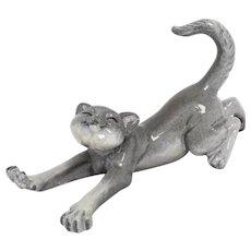 Kitty's Kennel 'Stretch' Gray Tabby Cat Figurine