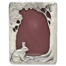 """c1988 Seagull Canada Pewter 3"""" x 2"""" Bunny Rabbit in The Shade Photo Frame"""