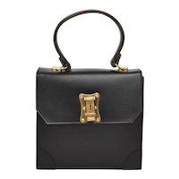 Designer Avanti Imports Belgium Kelly Bag Style Accordion 2 Compartment Black Leather Top Handle Handbag