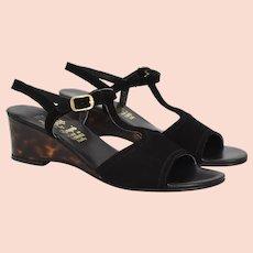 "Amalfi by Rangoni Florence Italy ""Dipiu'"" Black Suede T-Strap & Faux Tortoise Shell Women's Wedge Heels- Size 8 1/2 N"