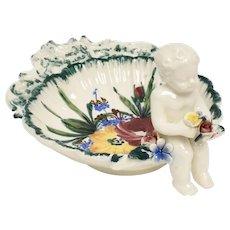 Italian Cherub Floral Motif Ceramic Decorative Dish