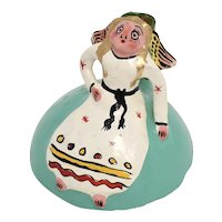 Mexican Folk Art Hand Painted Terra-cotta Pottery Winged Angel Figural Candlestick Holder