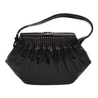Stylemark Designer Pleated Black Patent Leather or Vinyl Clasp Lock Women's Handbag