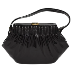 Stylemark Designer Pleated Black Patent Leather or Vinyl Clasp Lock Women's Handbag